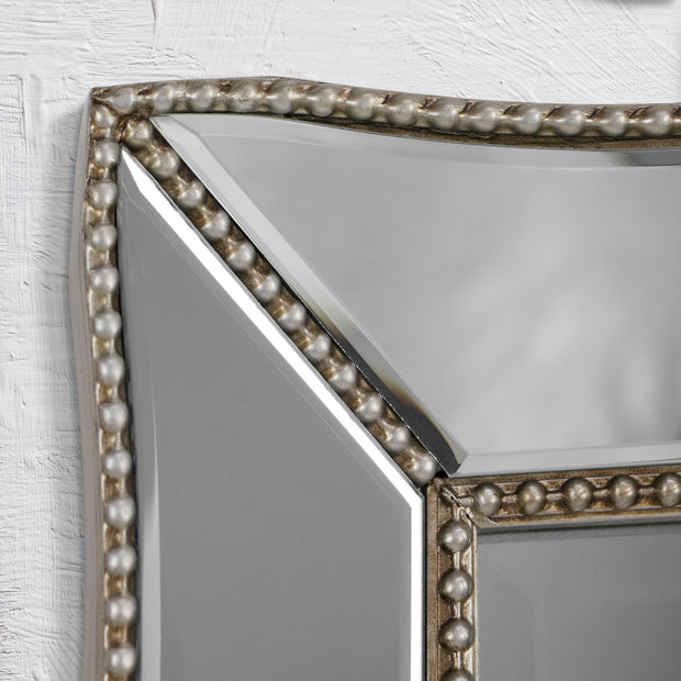 Champagne Silver Beaded Glass Scalloped Framed Vanity Mirror