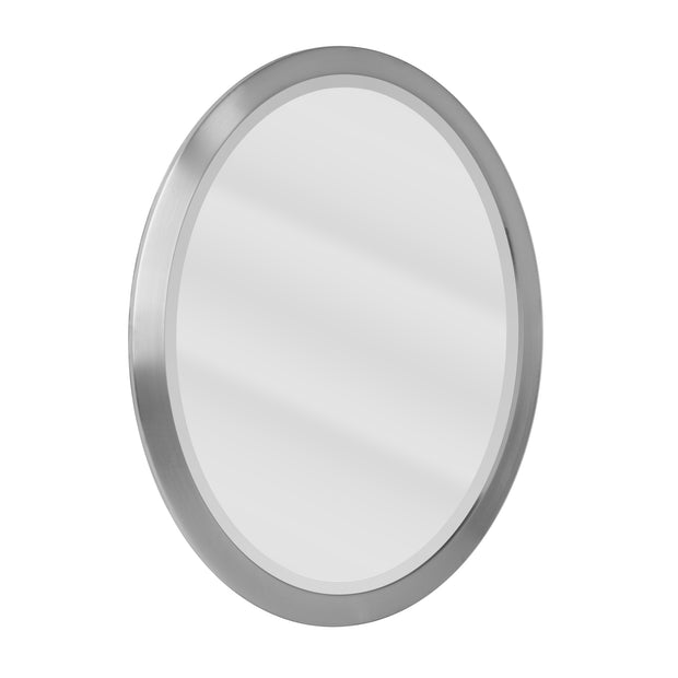 Oval Brushed Nickel Stainless Steel Framed Bathroom Mirror