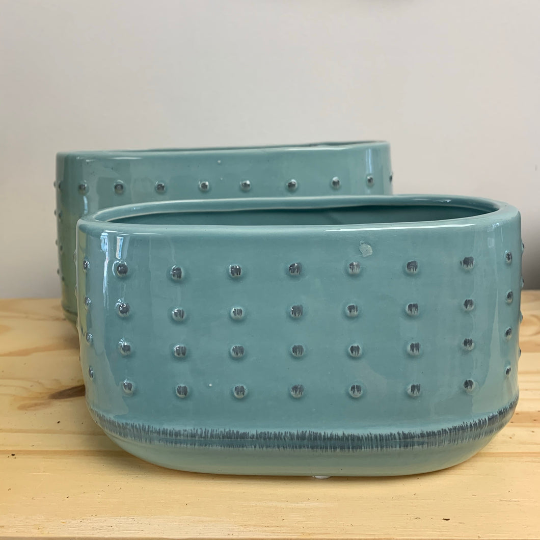 Turquoise Oblong Planter - 2 sizes