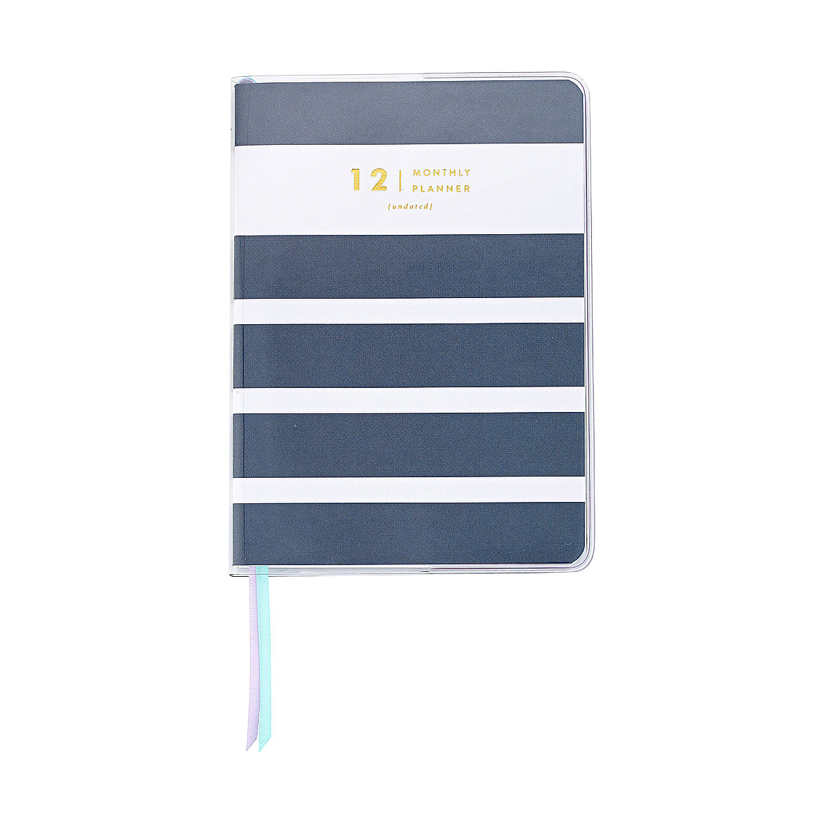Amelia Lane Monthly Planners (Undated, Navy Stripes)