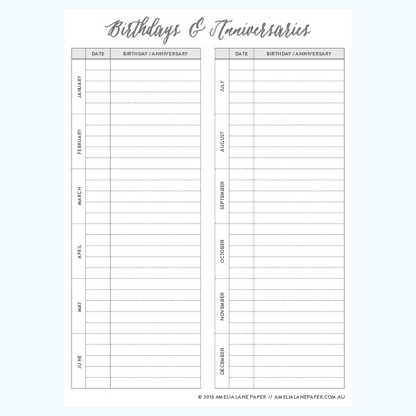 graphic relating to Birthday List Printable known as Birthdays and Anniversaries Listing Amelia Lane Paper