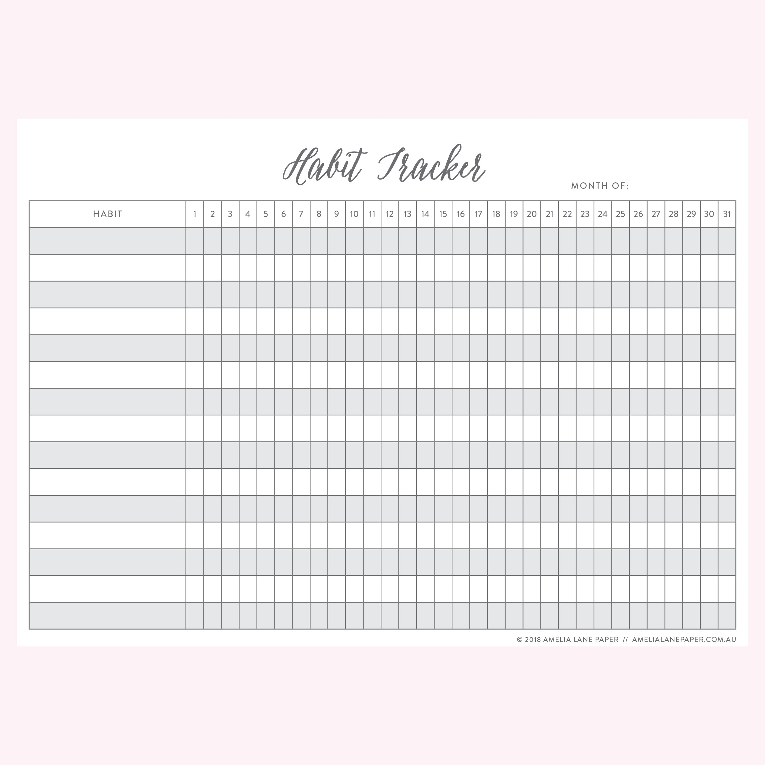 photo regarding Habit Tracker Free Printable identified as Practice Tracker