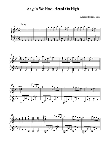Angels We Have Heard On High Piano Sheet Music