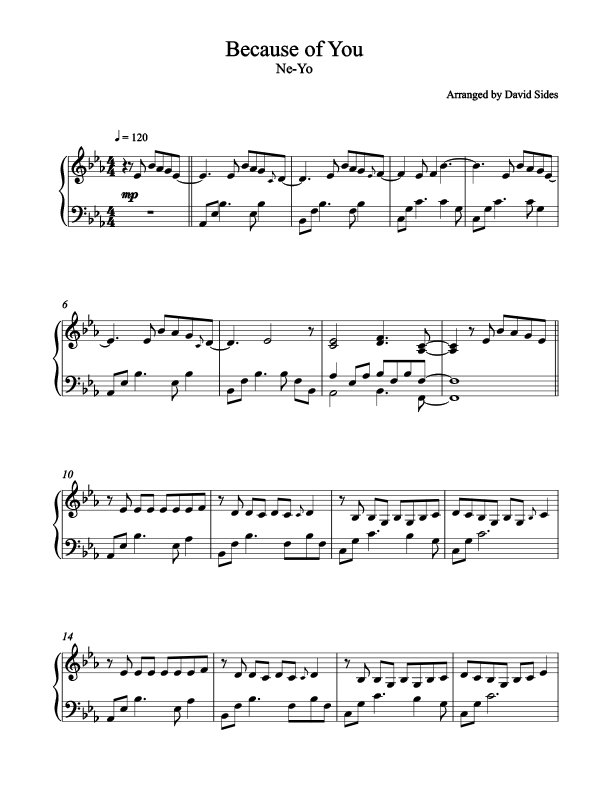 Because of You (Ne-Yo) Piano Sheet Music