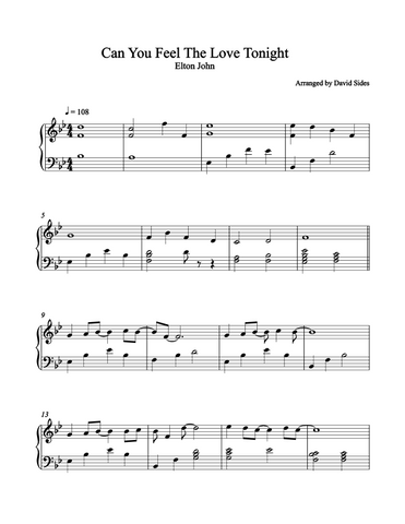 Can You Feel The Love Tonight (Elton John) Piano Sheet Music