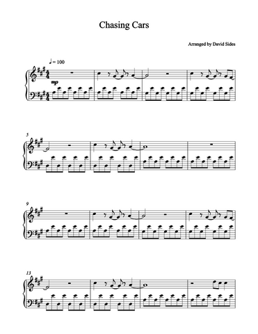 Chasing Cars (Snow Patrol) Piano Sheet Music