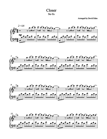 Closer (Ne-Yo) Piano Sheet Music