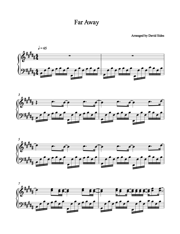 Far Away (Nickelback) Piano Sheet Music