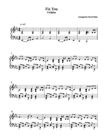 Fix You (Coldplay) Piano Sheet Music