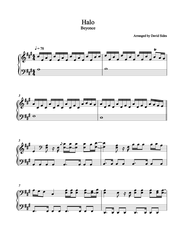 Halo (Beyonce) Piano Sheet Music
