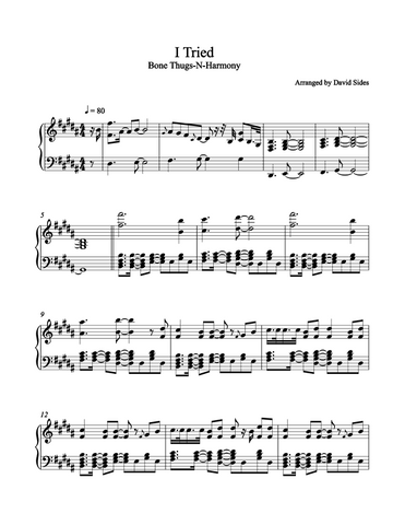 I Tried (Bone Thugs-N-Harmony & Akon) Piano Sheet Music