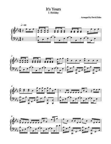 It's Yours (J. Holiday) Piano Sheet Music