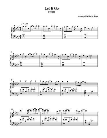 Let It Go (Frozen) Piano Sheet Music