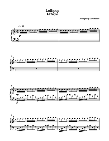 Lollipop (Lil' Wayne) Piano Sheet Music