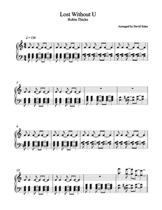 Lost Without U (Robin Thicke) Piano Sheet Music
