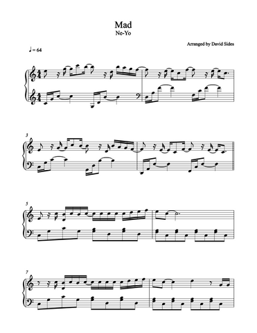Mad (Ne-Yo) Piano Sheet Music