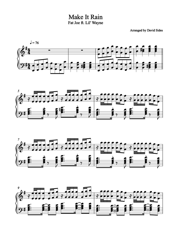 Make It Rain (Lil Wayne) Piano Sheet Music