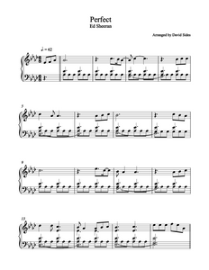 Perfect (Ed Sheeran) Piano Sheet Music
