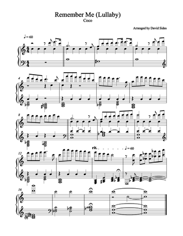 Remember Me (Lullaby) (Coco) Piano Sheet Music
