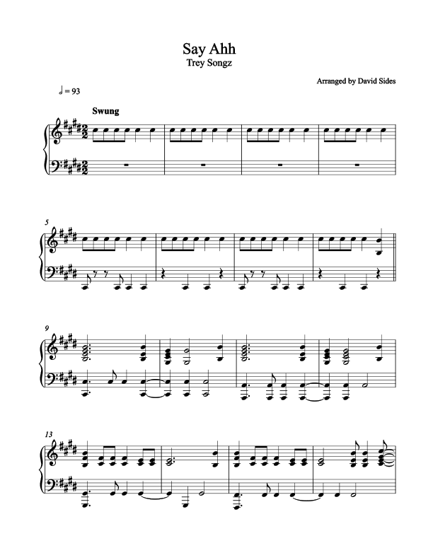 Say Ahh (Trey Songz) Piano Sheet Music