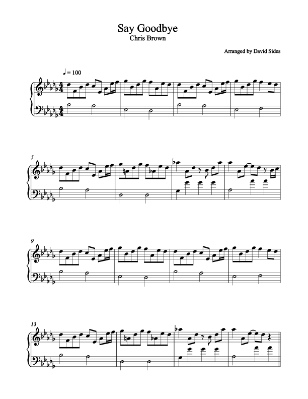 Say Goodbye (Chris Brown) Piano Sheet Music