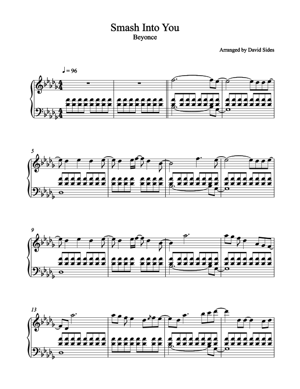 Smash Into You (Beyonce) Piano Sheet Music