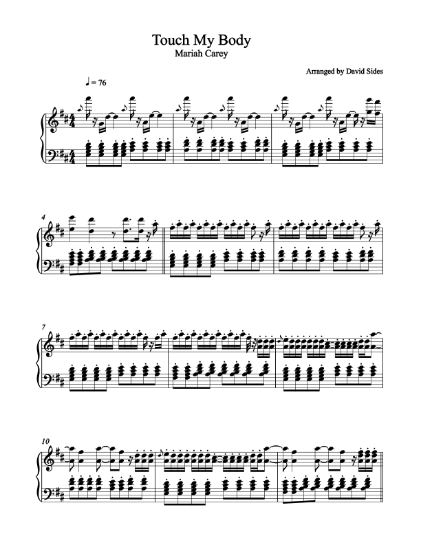 Touch My Body (Mariah Carey) Piano Sheet Music