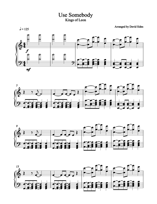 Use Somebody (Kings of Leon) Piano Sheet Music