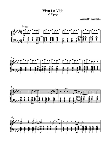 Viva La Vida (Coldplay) Piano Sheet Music