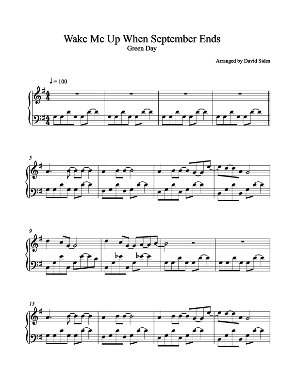 Wake Me Up When September Ends (Green Day) Piano Sheet Music