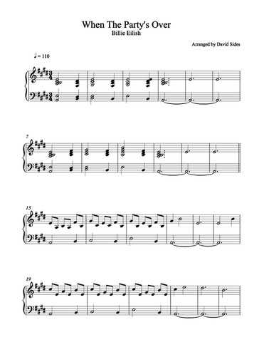 When The Party's Over (Billie Eilish) Piano Sheet Music