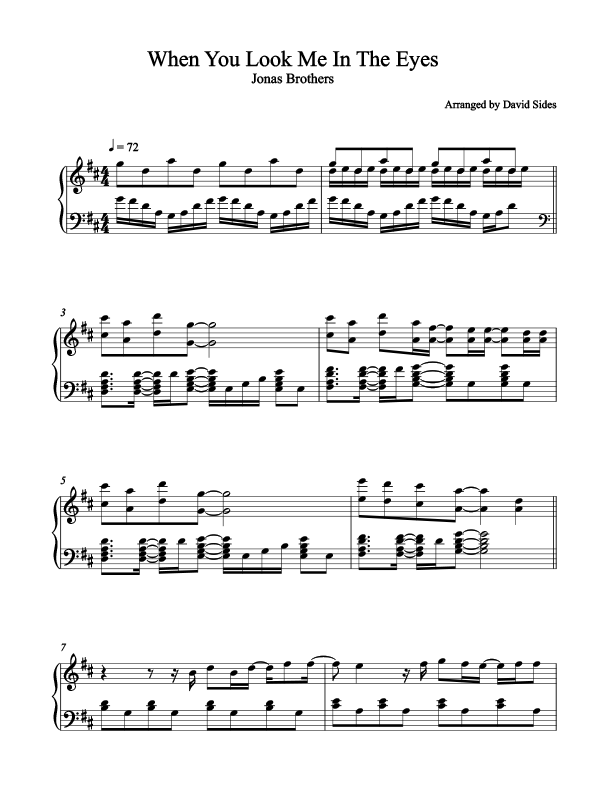 When You Look Me In The Eyes (The Jonas Brothers) Piano Sheet Music
