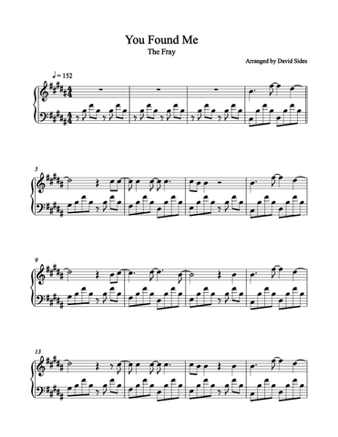 You Found Me (The Fray) Piano Sheet Music