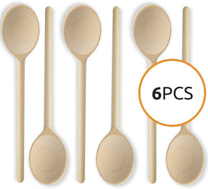 Mr. Woodware - Wooden Cooking Spoons Bulk 12 Inch – Set of 6
