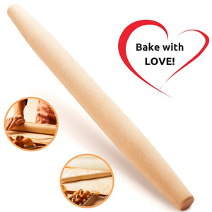 Mr. Woodware - French Wooden Rolling Pin 18″ x 1.55″ for Baking Pizza Pastry Dough, Pie Crust & Cookie