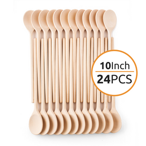 Mr. Woodware - Small Wooden Spoons Bulk – 10 Inch – Set of 24
