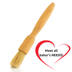 Mr. Woodware - Professional Wooden Natural Bristles Pastry/Basting Round Brush with Finest Cherry Wood Handle