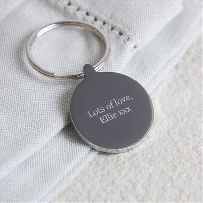 Personalised Message Round Silver Keyring