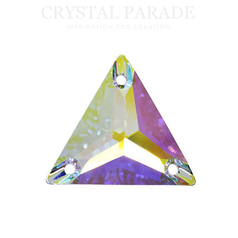 Swarovski Triangle Sew on Stone 16mm AB Pack of 4