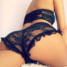 Load image into Gallery viewer, 2pcs Sexy Women Lace Babydoll Underwear Nightwear Sleepwear G-string Set Transparent Mesh Pajamas Set High Waist Bra+Panties
