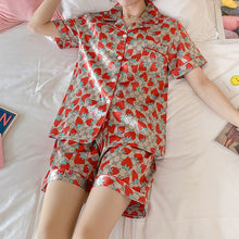 Load image into Gallery viewer, 2020 Summer Women Short Sleeved V-neck Pajamas Set Sexy Silk Satin Pyjamas Girl Pijama Woman Sleepwear Top Homewear Set Autumn