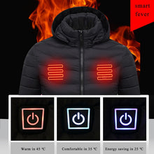Load image into Gallery viewer, Dropshipping Mens Women Heated Outdoor Parka Coat USB Electric Battery Heating Hooded Jackets Warm Winter Thermal Jacket