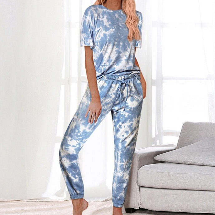 2020 Casual Daily Women Wears Tie-dye Jumpsuit Short Sleeve Round Collar Pockets Full Pants New Style Fashion Lady Rompers