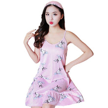 Load image into Gallery viewer, 2020 New Womens Print Nightdress With Eyemask Sleeveless Nightie Sexy Sleepwear Nightdress Short Mini Sleepwear Dresses