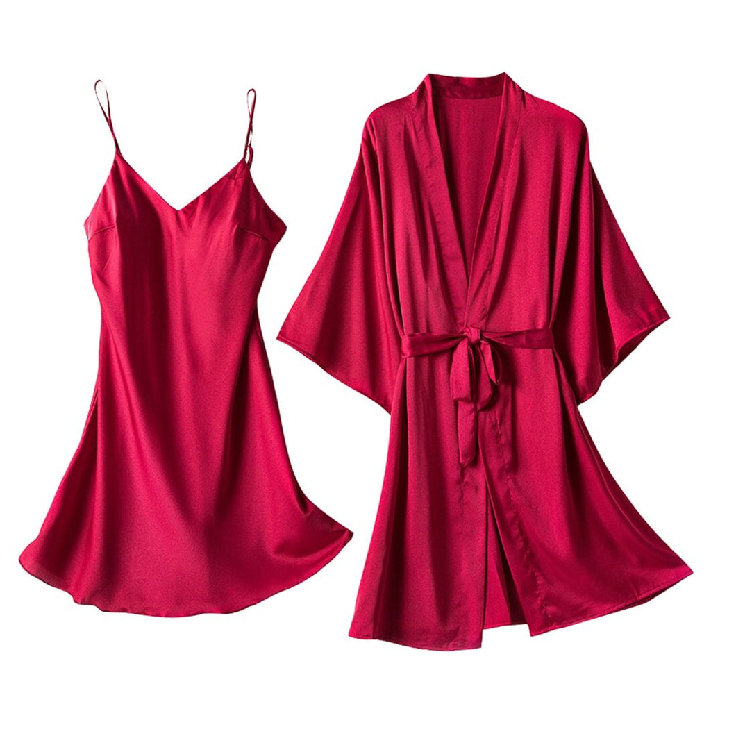2020 Long Sleeve Women Robe Silk Dressing Gowns Lingerie Set Bathrobe Ladies Summer Autumn Sexy Nightgown Nightdress