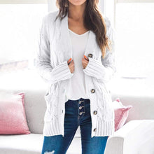 Load image into Gallery viewer, Women Sweater 2020 New Autumn/winter Fashion Women Cardigans Long Sleeve Button Sweater Women Casual Solid Long Women Cardigan