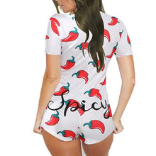 Load image into Gallery viewer, 24h Ship Sexy Onesie Pajamas For Adults Women Plus Size Button Bodysuit Leotard Short Sleepwear Jumpsuit Rompers Onsie Party