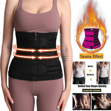 Load image into Gallery viewer, 3 Belt Waist Trainer Corset Neoprene Sweat Belt Body Shaper Women Slimming Sheath Reducing Curve Shaper Workout Trimmer