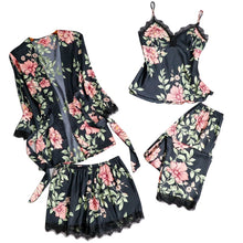 Load image into Gallery viewer, Women Floral Pajamas Sets Sexy Lace Tops + Shorts +Robe Sleepwear Sets Casual Ladies Flower Homewear Summer Spring Thin Set