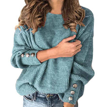 Load image into Gallery viewer, Women Autumn Winter Knitted Sweaters O-neck Long Sleeve Button Decoration Sweater Tops Ladies Casual Jumper Plus Size Dropship